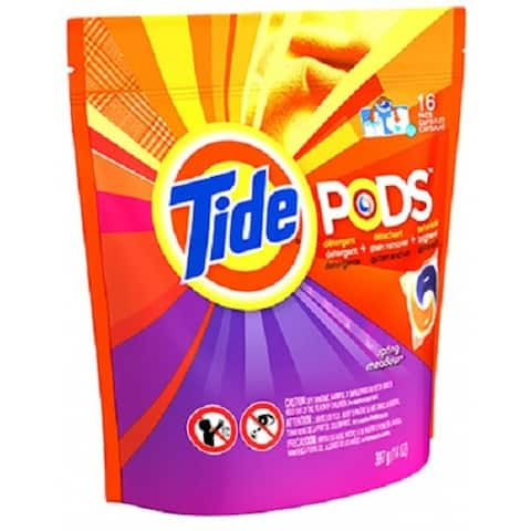 Tide 50954 Pod Laundry Detergent Pac, Spring Meadow Scent, 16-Count