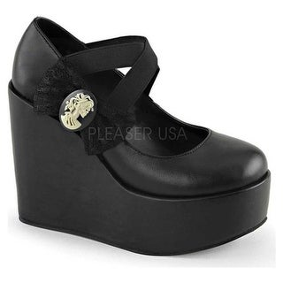 Demonia Women's Poison 02 Platform Mary Jane Black Vegan Leather/Lace