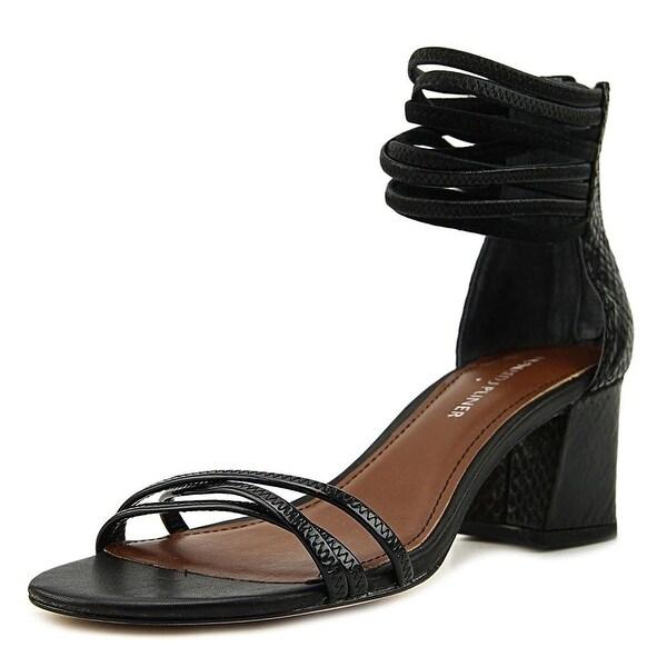 Donald by Donald J Pliner Essie Women Open Toe Leather Black Sandals