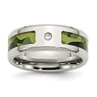 Chisel Stainless Steel Polished with CZ Green Camouflage Band (8 mm)