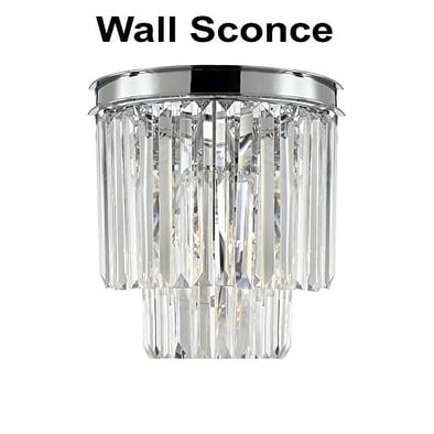 Odeon Empress Crystal (tm) Glass Fringe 2-tier Wall Sconce Lighting Chrome Finish