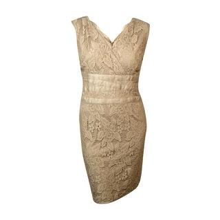 Adrianna Papell Women's Scalloped V-Neck Lace Sheath Dress