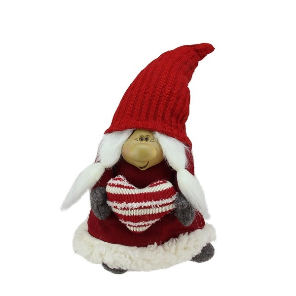 "13.5"" Red and Gray Smiling Woman Gnome Table Top Christmas Figure"