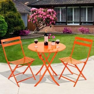 Costway 3 PC Table Chair Set Folding Outdoor Patio Garden Pool Backyard Furniture