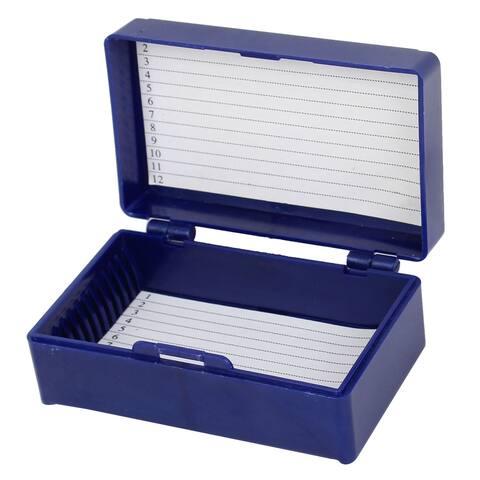 Unique Bargains Royal Blue Plastic Rectangle Shaped Lined 12 Microslide Slide Microscope Box