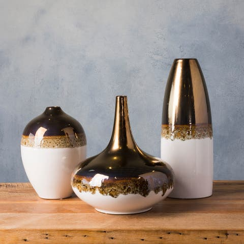 Lucjan Gold Ceramic Modern Decorative Vase (Set of 3)