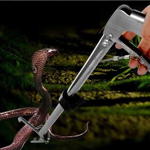 100cm/120cm Snake Feeding Use Foldable Stainless Steel Snake Clamp Snake Catcher Silver & Black - Silver & Black