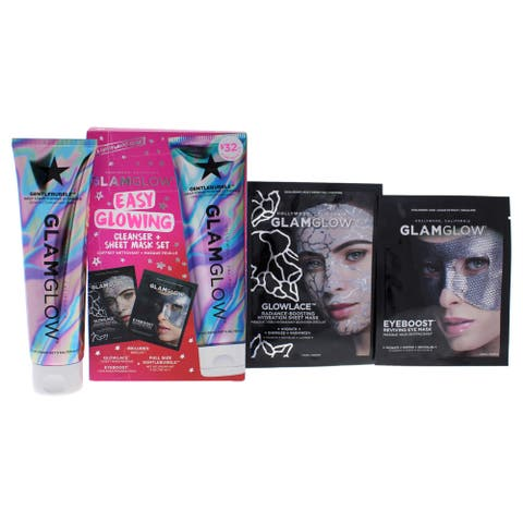Easy Glowing Cleanser Plus Sheet Mask Set By Glamglow For Women - 3 Pc 5Oz Cleanser, Eye Mask, Sheet Mask
