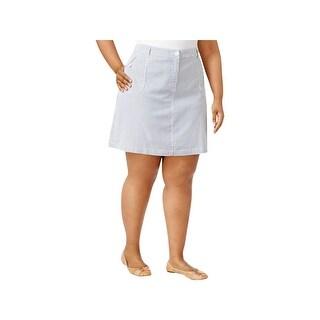 Karen Scott Womens Plus Skort Striped Knee-Length