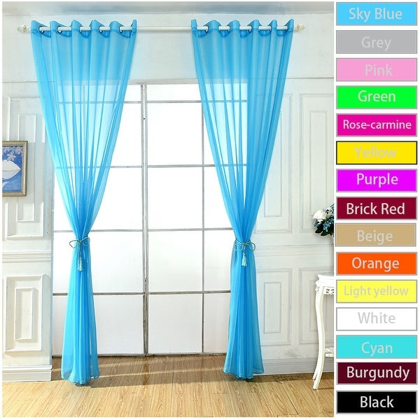 Shop Home Solid Grommet Voile Curtain Sheer Panel Drapes