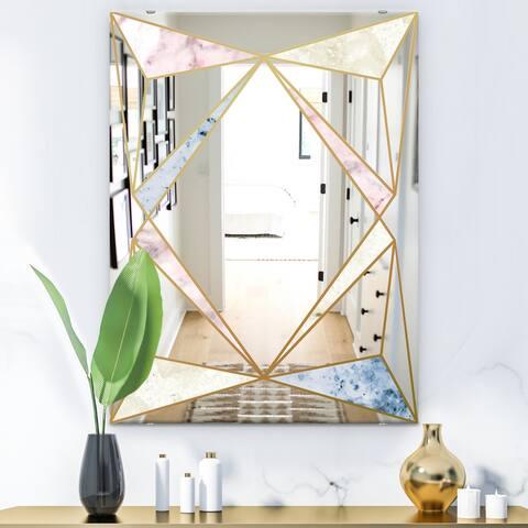 Designart 'Marbled Diamond 2' Mid-Century Mirror - Modern Wall Mirror