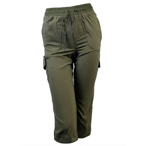 Victory Outfitters Ladies' Pull On Drawstring Capri Pants w/ Cargo Pockets