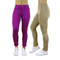 Women 5 Pocket Solid Stretch Ponte Jeggings