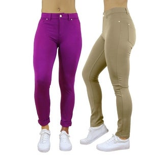 Women 5 Pocket Solid Stretch Ponte Jeggings