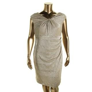 Lauren Ralph Lauren Womens Metallic Twist Front Cocktail Dress