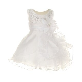 Cinderella Couture Baby Girls White Crystal Organza Cascade Ruffle Dress 6-24M (3 options available)