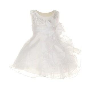Cinderella Couture Baby Girls White Crystal Organza Cascade Ruffle Dress 6-24M