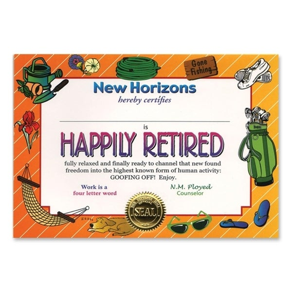 "Pack of 6 Whimsical ""Happily Retired"" Certificates 5"" x 7"" - N/A"