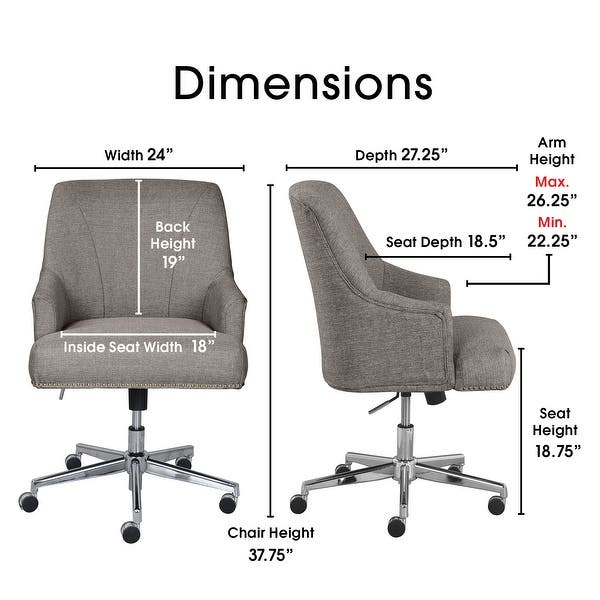 Shop Serta Leighton Home Office Chair Overstock 15924371 Grey