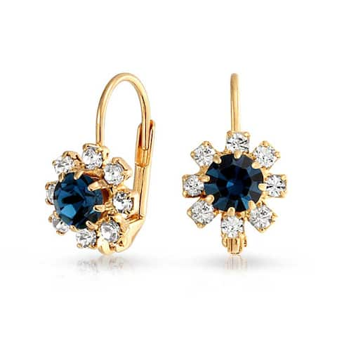 Navy Blue And White Crystal Flower 18K Gold Plated Brass Leverback Drop Earrings For Women Imitation Sapphire