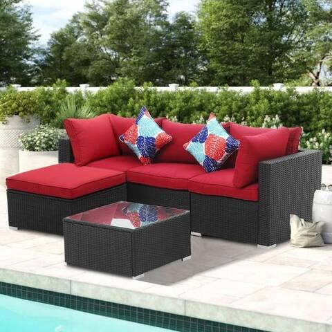 Zenova 5 Pcs Rattan Sofa Sectional Set With Pillows And Cushions