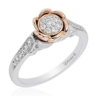 Enchanted Disney Fine Jewelry 14KWP 0.25CT Belle Bridal 7 in. Ring