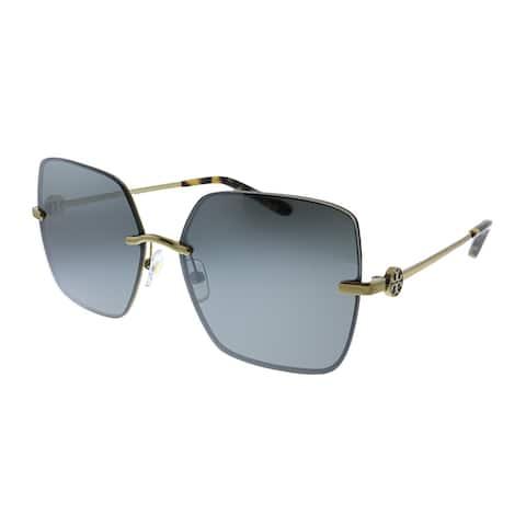 Tory Burch TY 6080 32986V Womens Gold Frame Grey Mirror Lens Sunglasses