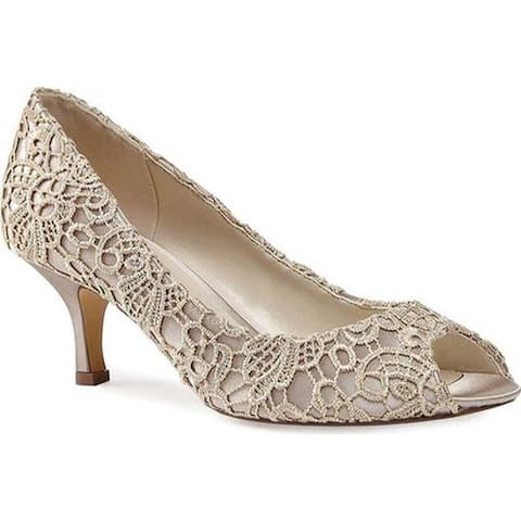 Pink Paradox London Women's Emotion Peep Toe Pump Taupe Lace/Satin
