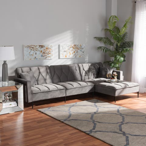 Galena Grey Velvet Fabric Sleeper Sectional Sofa with Right Chaise