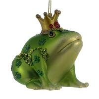 Green Frog with Crown Christmas Holiday Ornament
