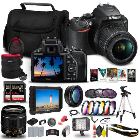 Nikon D3500 DSLR Camera with 18-55mm Lens (1590) + 4K Monitor + 2 x