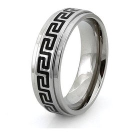 Titanium Ring w/ Greek Pattern Resin Inlay