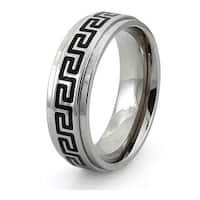 Titanium Ring w/ Greek Pattern Resin Inlay