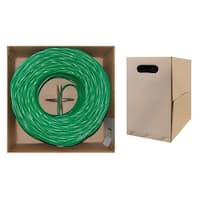 Offex Plenum Cat6 Bulk Cable, Green, Solid, UTP (Unshielded Twisted Pair), CMP, 23 AWG, Pullbox, 1000 foot