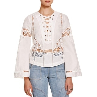 Free People Womens Blouse Sheer Trim Lace-Up