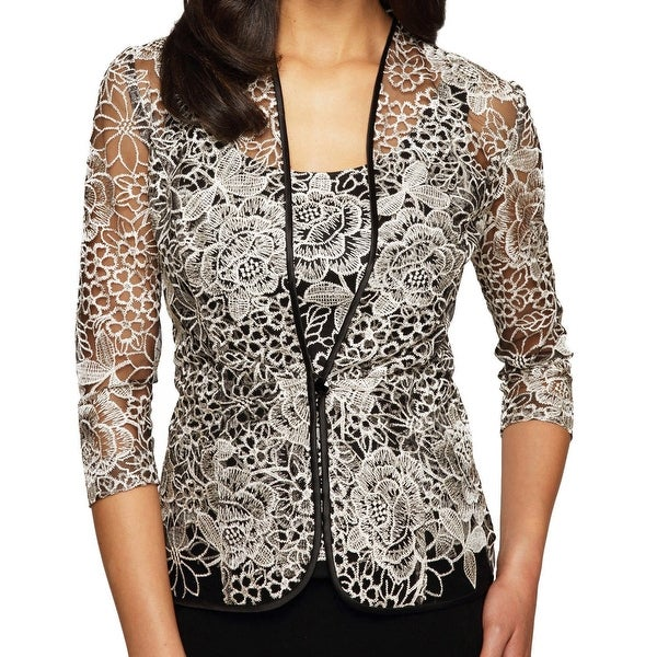 d78cb75d348 Shop Alex Evenings NEW Gold Womens Size Medium M Floral Embroidered ...