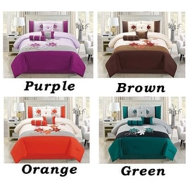 7 PC Comforter Set Queen Size Floral Modern Style with Bed Skirt Pillow Shams Square Pillow Breakfast Cushion Neck Roll