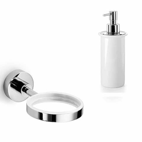 WS Bath Collections Duemila 55001.29+55006.09 Duemila Ceramic Wall Mounted Soap Dispenser - Polished Polished Chrome