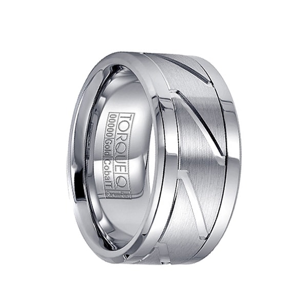 Diagonal Grooved 14k White Gold Inlaid White Cobalt Extra Wide Men's Ring by Crown Ring - 10.5mm