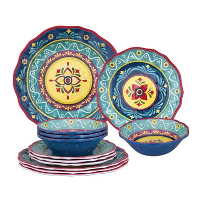 UPware 12-Piece Fiesta Floral Melamine Dinnerware Set
