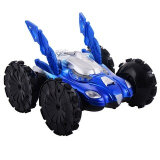 Costway Electric Amphibious RC Car Remote Control Stunt Car 360 degree Spin Land Water Toy - Blue