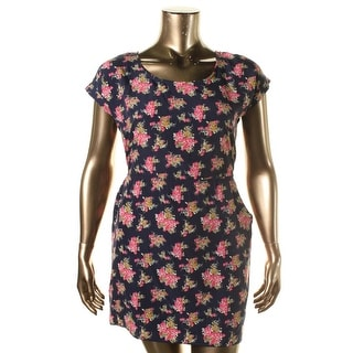 Pink Rose Womens Juniors Sundress Floral Cuff Sleeves