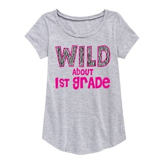 Wild About First Grade - Youth Girl Short Sleeve Curved Hem Tee