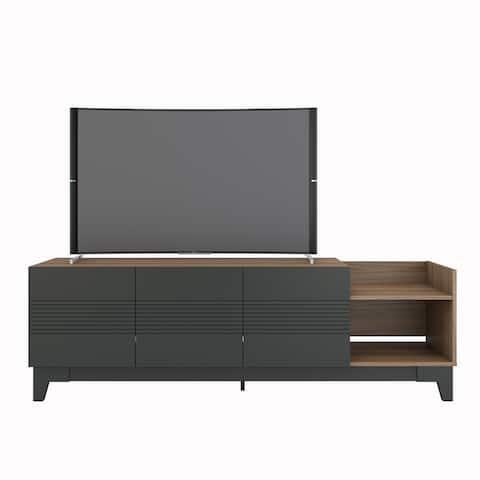 Nexera Influence 72-inch TV Stand, Nutmeg and Charcoal Grey