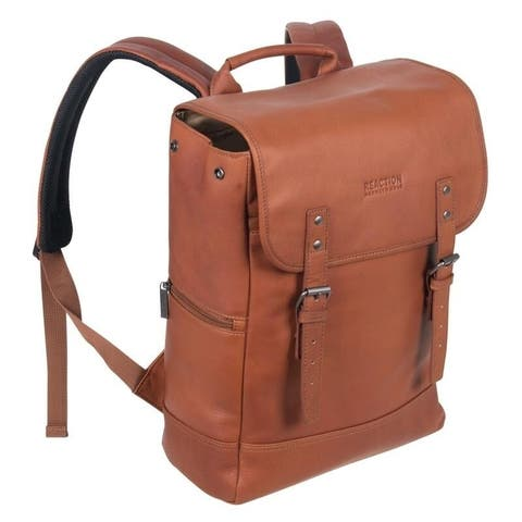 Kenneth Cole Reaction Full-Grain Colombian Leather 15-inch Laptop & Tablet RFID Flapover Travel Backpack
