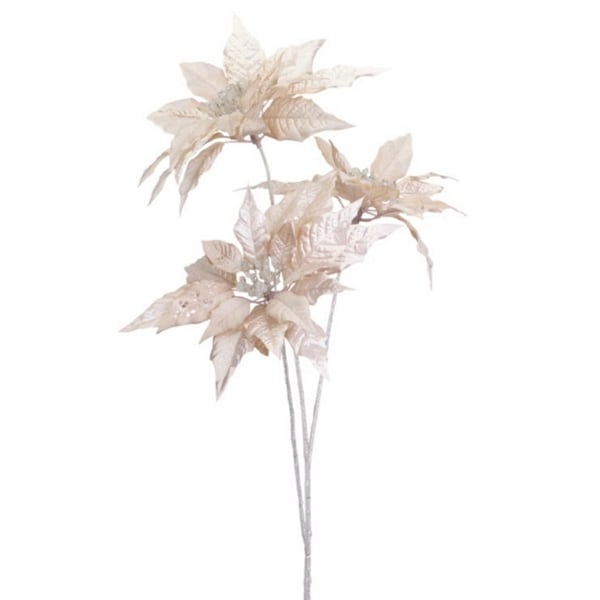 """Pack of 6 Artificial Champagne Gold Christmas Poinsettia Sprays 30"""""""