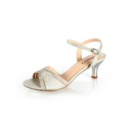 Embellished Low-Heel Ankle Strap Sandal