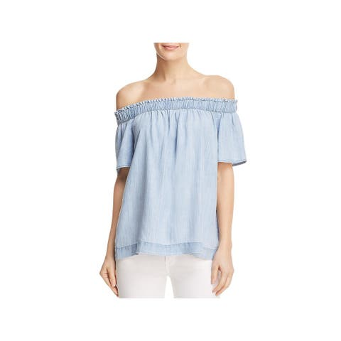 Side Stitch Womens Blouse Tencel Off-The-Shoulder