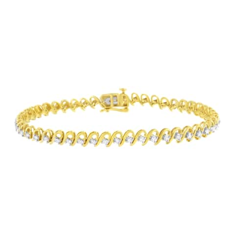 """10K Yellow Gold Plated .925 Sterling Silver 1Cttw Diamond Alternating Wave and Round Link Tennis Bracelet (I-J , I2-I3) - 7.25"""""""