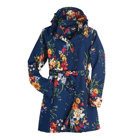 e41c137c4dd Women s Floral Rain Jacket with Detachable Hood - Belted